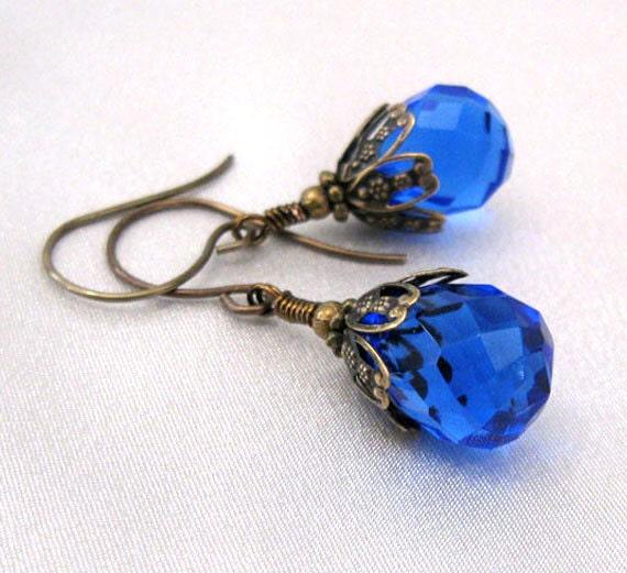 Cobalt Blue Glass Earrings, Faceted Briolettes, Antique Brass, Vintaj Hooks