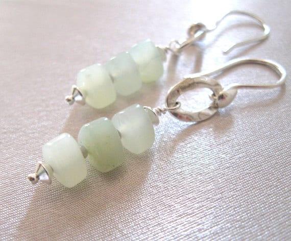 New Jade Earrings, Soochow Jade Beads in Sterling Silver, Handmade
