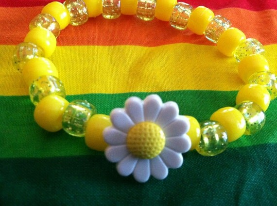 Yellow and Glitter Small Daisy  - Plastic Kandi Bracelet