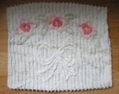 Vintage CHENILLE Pastel Pillowcase