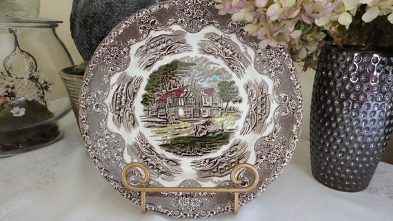Grindley Dinner Plate English Country Inns Pattern Brown 10""
