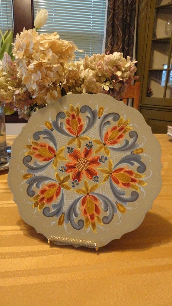 Vintage Plate with Norwegian Rosemaling Wood