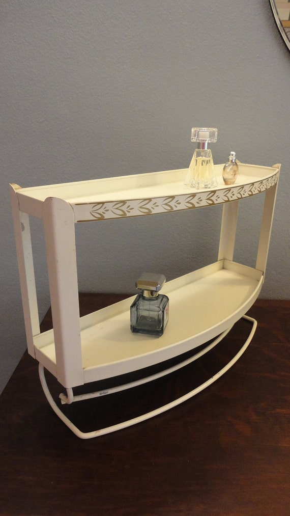 Vintage Metal Bathroom Shelf with Towel Bars Ivory with Gold Detail