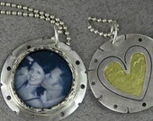 2 way picture pendant with heart inlay