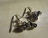 Silver Motorcycle Dangle Earrings