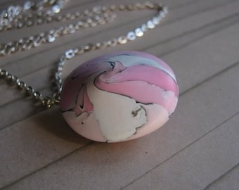 In the Pink Polymer Clay Lentil Pendant Necklace