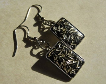 Black and Gold Etched Recycled Dangle Earrings