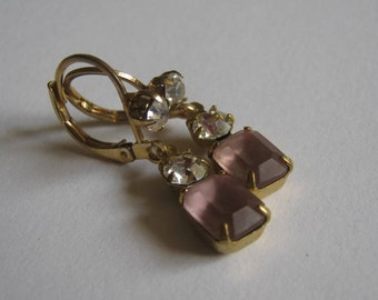 Vintage Frosted Pink Octagon and Swarovski Crystal Stone Dangle Earrings