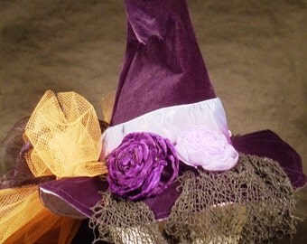 Witch Hat Made to Order Halloween Costume Accessory Cosplay Millinery Purple Velvet Orange