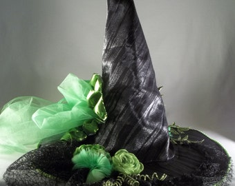 Witch Hat Made to Order Halloween Costume Accessory Cosplay Millinery Green Black