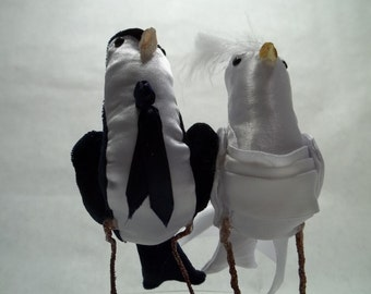 Wedding cake topper Portrait FerdiBirds -- custom miniature love birds