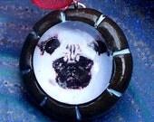 pug polymer pendant with ribbon cord