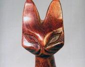 Vintage wooden carved cat statue - mid century modern - figurine - wood - siamese