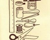 Crafty Tools - greeting card Grey