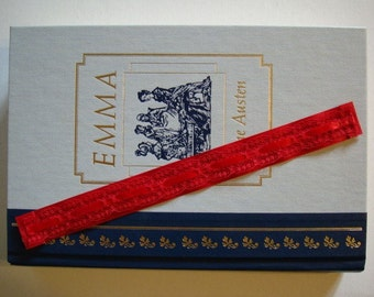 Bookmark - Ribbon N Lace Book Mark - Cherry Red - Bibliophile Bookworm Reader - Red Bright