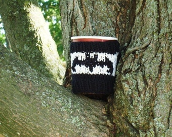 Hand Knit Cup Cozy Black Bat Coffee Sleeve Take-Out Sweater Handknit Mens Gift Teen Gift Bats Halloween Eco Cup Cosy