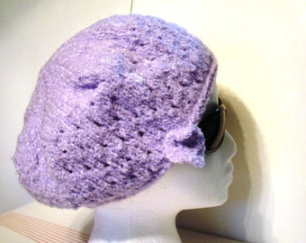 Soft and Cozy Knitted Lilac Tam Beret with Small Knit Flower Floral Accent