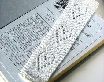 Bookmark with Pearl Accents Knitted White Lace with Hearts Book Mark