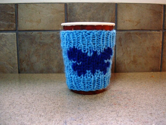 BUTTERFLY Knitted Cup Cozy - Coffee Sleeve - Take-Out Sweater - Great Gift Idea