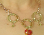 Handmade necklace Green glass rings, glass beads and silver chain - Dear Heart