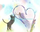 Watercolor Painting Cat Art, Cat Painting, Cat Watercolor, Heart Art, Angel Art, Print Of Original Watercolor  Titled Paws On My Heart