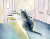 Watercolor Painting 8x10, Cat Art, Cat Painting, Cat Watercolor, Pet Art, Cat Portrait, Cat Art Print Titled In Or Out