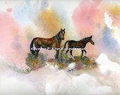 Watercolor Painting Horse Art, Horse Painting, Horse Watercolor, Wild Horses, Equine Art, Horse Art Print Titled Mother's Love
