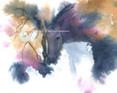 Watercolor Painting Horse Art, Horse Painting, Horse Watercolor, Equine Art, Wild Horses, Horse Art Print Titled Kissing Horses