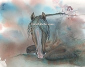 Watercolor Painting Horse Art, Horse Painting, Horse Watercolor, Horse Art print, Equine Art, Print Titled Morning Light