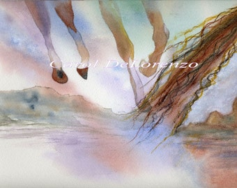 Watercolor Painting Horse Art, Horse Painting, Horse Watercolor, Wild Mustangs, Horse Art Print Titled Southwestern Sky Horses