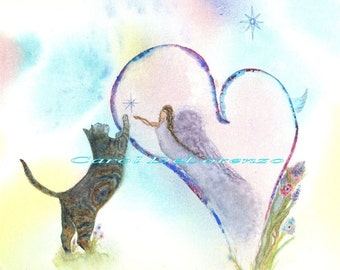 Watercolor Painting Cat Art, Cat Painting, Cat Watercolor, Heart Art, Angel Art, Print Of Original Watercolor  Titled Paws On My Heart
