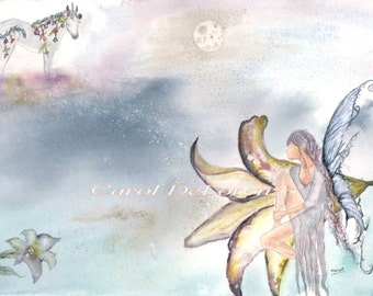 Watercolor Painting Fairy Art, Fairy Painting, Fairy Watercolor, Fairy Art Print, Flower Art, Fantasy Art Print Titled Fairy Blossom