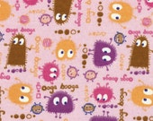 CANDYLAND Ooga Booga on Pink, Cotton Interlock Knit Fabric, Diaper Cut 22 x 22 inches