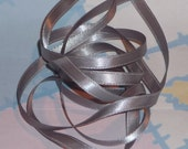 SILVER DouBLe FaCeD SaTiN RiBBoN, Polyester 1/4 inch wide, 5 Yards