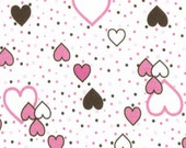 HEARTS n DOTS on White Cotton Baby Rib Knit Fabric, by the Yard