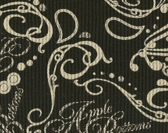 Apple Bottoms FLOURISH PAISLEY on Black, Cotton Thermal Waffle Knit Fabric, by the yard