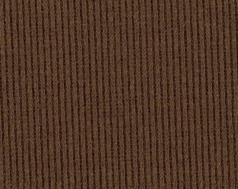 POTTING SOIL BROWN 2x1 RiBBiNG, Cotton Lycra blend, Fat Eighth, 9 x 21 inches
