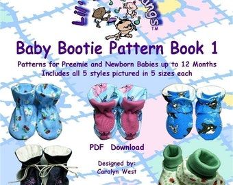 Baby Bootie Sewing Pattern Book (5 styles in 5 sizes Preemie up to 12 mths. (4 inches) INSTANT DOWNLOAD