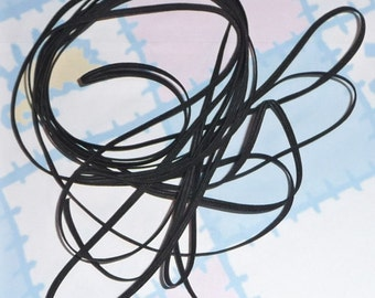 BLACK BRAIDED ELASTIC, Polyester Rubber 1/8 inch wide, 5 Yard hank bundle