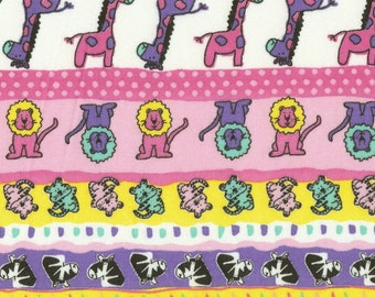 ZOO STRIPE - Pink, Cotton Baby Rib Knit Fabric, by the yard