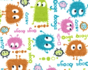 SPRiNG Ooga Booga Monsters on White Velour Stretch Knit Fabric, by the Yard