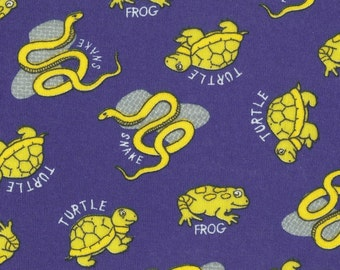 FROGs, TURTLEs n SNAKEs Cotton Baby Rib Knit Fabric FQ 18 X 30 inches