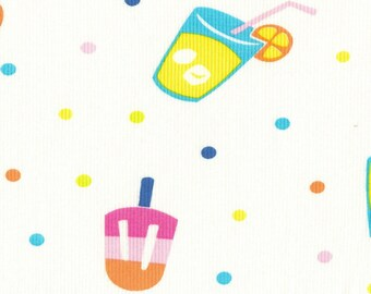 SUMMER TREATs n DOTs, Cotton Rib Knit Fabric, FQ 18x29 inches