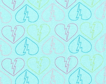 Broken Hearts, Cotton Jersey Knit Fabric, By the Yard