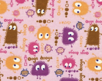 CANDYLAND Ooga Booga on Pink, Cotton Interlock Knit Fabric, by the Yard