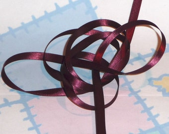 BURGUNDY DouBLe FaCeD SaTiN RiBBoN, Polyester 1/4 inch wide, 5 Yards