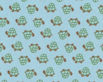 TURTLES, Cotton Baby Rib Knit Fabric, by the yard 36x56 inches
