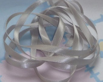 SHELL GRAY DouBLe FaCeD SaTiN RiBBoN, Polyester 1/4 inch wide, 5 Yards