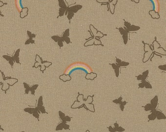 BUTTERFLY RAINBOWs Cotton Baby Rib Knit Fabric, by the Yard