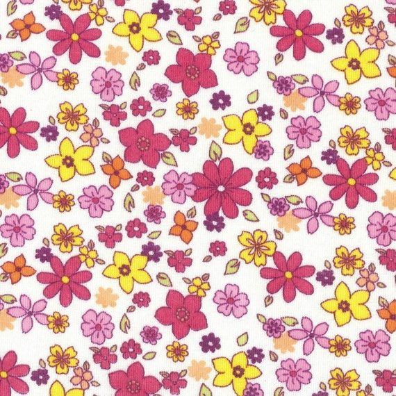 Flowers cotton baby rib knit fabric by the yard for Baby fabric by the yard